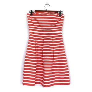 Gap Orange White Stripe Strapless Fit Flare Dress